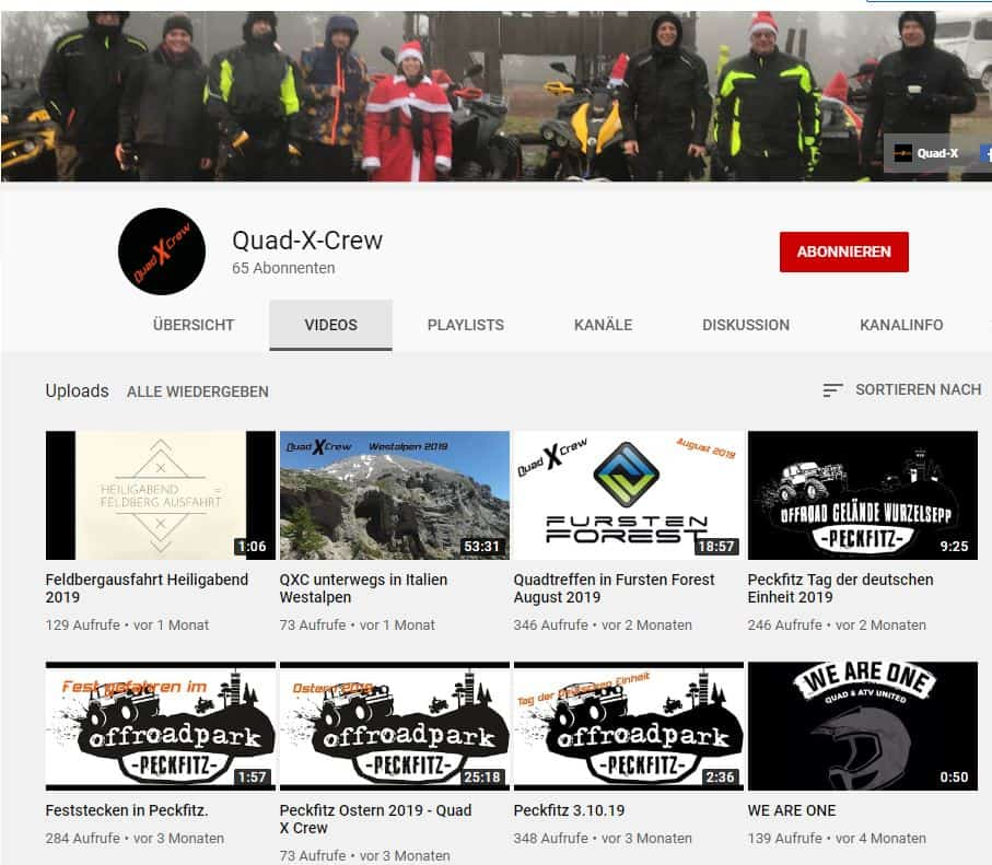 quad-x-crew auf youtube